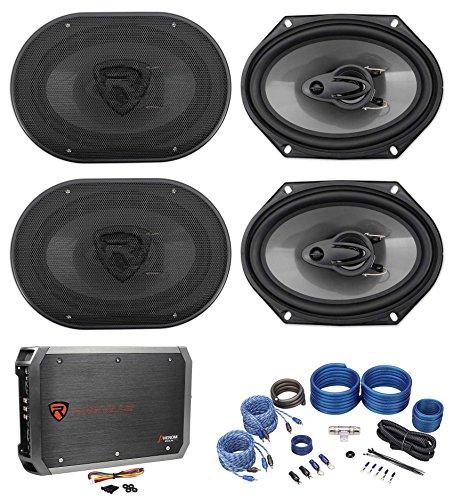 (4) Rockville RV68.3A 6x8 1800w 3-Way Car Speakers+4-Channel Amplifier+Amp Kit