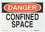 "Brady 60535 10"" Height, 14"" Width, B-401 Plastic, Black And Red On White Color Confined Space Sign"