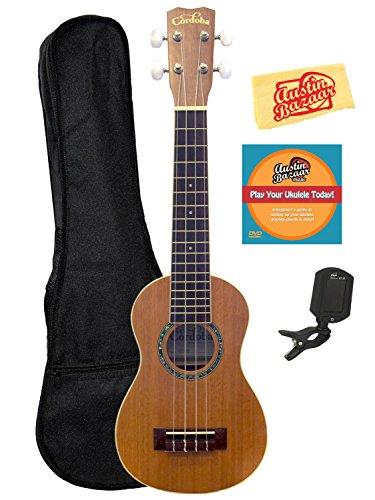 Cordoba 15SM Soprano Ukulele Bundle with Gig Bag, Clip-On Tuner, Austin Bazaar Instructional DVD, and Polishing Cloth