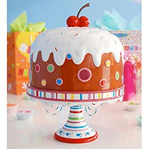 """Glitterville Covered Birthday Pedestal Cake Plate Stand w/ Giant Cherry, Large 15"""""""