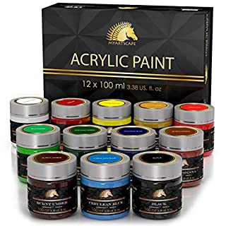 Acrylic Paint Set - 12 x 100ml Bottles - Heavy Body - Lightfast Paints - Artist Quality - MyArtscape