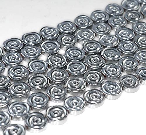 10MM Silver Hematite Gemstone Rose Flower Carved 10MM Loose Beads 16