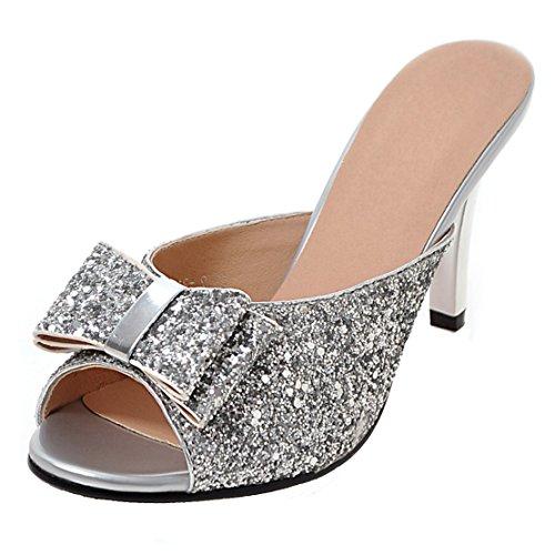 fd845863d78a3b AIYOUMEI Damen Glitzer Peep Toe Stiletto High Heels Pantoletten mit  Schleife Bequem Modern Pailletten Sandalen Silber