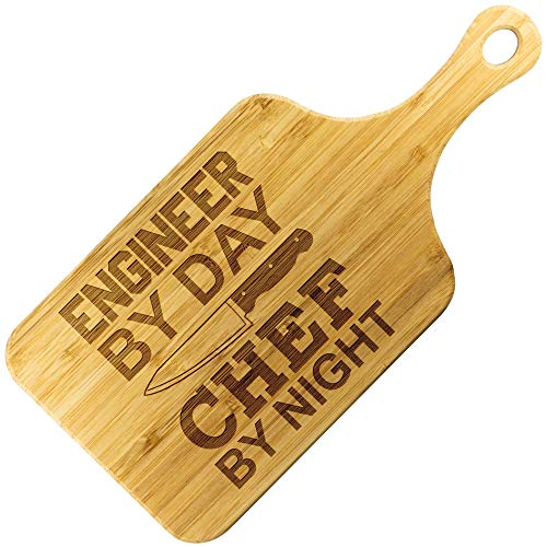 """Engineering Gift Engineer By Day Chef By Night - Customized Cooking Gifts for Men Women - Bamboo Cutting Board With Handle (Paddle 15""""x7"""")"""