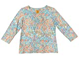 Ruby Rd. Women's Petite Size 3/4 Sleeve Keyhole-Neck Printed Cotton Knit Top, Embellished Papaya Multi, PET Small