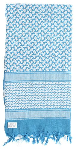 Premium Heavyweight Shemagh Scarf with ARMY UNIVERSE Pin - Blue & White