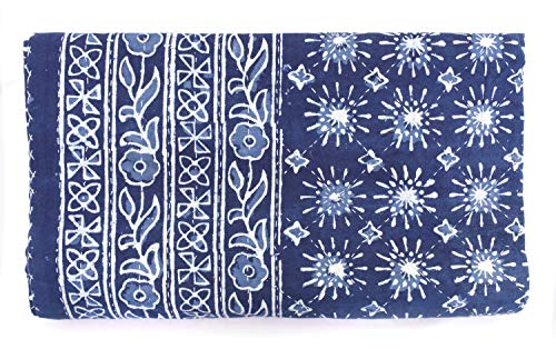 Sophia Art Natural Blue Indigo Hand Block Print Indian Cotton Kantha Quilt,Handmade Kantha Stitched Bed Cover/Blanket Fish Print