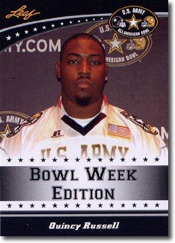 2011 Leaf US Army All-American Bowl Week Edition Prospect Card # West-33 Quincy Russell DL - Texas Longhorns / Sam Houston High School (First Football Trading Card / Rookie Card)
