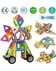 infinitoo Magnetische Bausteine 76tlg XXL Große Magnetic Bauklötze Blöcke | Tolles Lernspielzeug für Kinder | Perfekt für Einsatz zu Hause, in Schulen, Kindertagesstaetten etc.