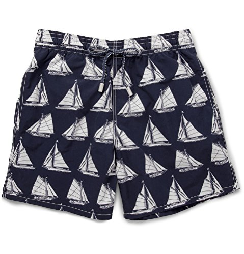 Vilebrequin Boys Sail Boat Navy Blue/White Swim Trunks 8 by Vilebrequin