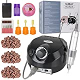 30000rpm Pro Electric Nail Drill Machine Pedicure Manicure Kits File Drill Bits Sanding Band with Cleaning Cleaner Metal+Plastic Brushes Accessory Nail Salon Nail Art Tools (Black) Review