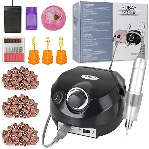 30000rpm Pro Electric Nail Drill Machine Pedicure Manicure Kits File Drill Bits Sanding Band with Cleaning Cleaner Metal+Plastic Brushes Accessory Nail Salon Nail Art Tools (Black)