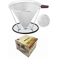 U only you Reusable Coffee Filter Permanent Stainless Steel Coffee Dripper with Separate Stand,Double Layered Filter,Fashion Honeycomb Design,Pour Over Coffee Dripper for 1-4 Cups (Stainless Steel)