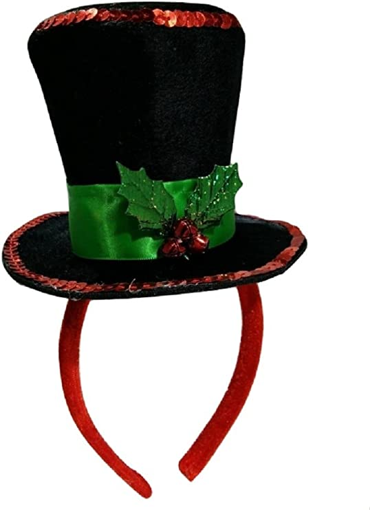 Mini Snowman Caroler Top Hat Headband Christmas Mistletoe Holly Berries Costume Black At Amazon Women S Clothing Store