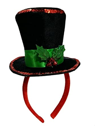 mini caroler top hat headband with christmas mistletoe holly berries costume