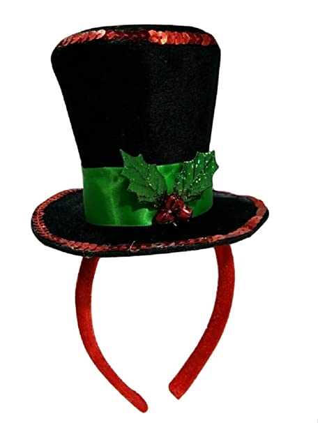 09058bdfe57 Image Unavailable. Image not available for. Color  Mini Caroler Top Hat  Headband with Christmas ...