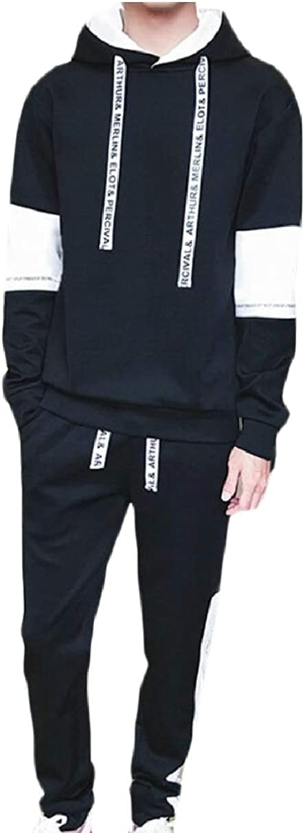 YIhujiuben Mens Casual Two-Piece Sets Thick Athletic Faux Fur Lined Outfits Black XXXL