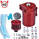 EVIL ENERGY Baffled Universal Aluminum Oil Catch Can Reservoir Tank Breather Filter Kit 400ml (Red+filter)