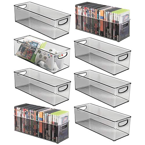 (mDesign Plastic Stackable Household Storage Organizer Container Bin with Handles - for Media Consoles, Closets, Cabinets - Holds DVD's, Video Games, Gaming Accessories, Head Sets - 8 Pack - Smoke Gray)