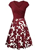 Messic Direct Foral Dresses for Womens Business Casual Summer Flower Print Midi Sundress Elegant Cotton Cap Sleeve Dress Multicolor Red Large