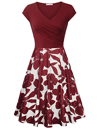 Printed Cap Sleeve Dress - Messic Direct Petite Cross V Neck Spring Dresses for Women, Cap Sleeve Flower Printed Sundress Elegant A Line Casual Cotton Dress Multicolor Red Small