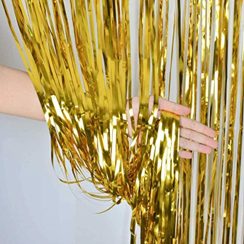 (ZagGit Set of 2 Metallic Gold Foil Fringe Party Decoration Door Curtains, 3 x 8 Feet)