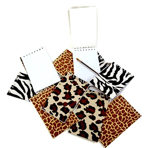 Animal Print Spiral Notepads, Furry Animal Print Memo Pads, By Dondor (Set of 12)