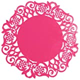Molyveva Lace Flower Doilies Silicone Coaster Tea Cup Mats Pad Insulation Placemat LAU,3.9*0.06'',Red