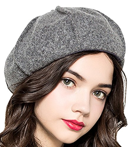 Supergirl Women's Wool Beret Hat Fashion Bow Homburg Hat Grey