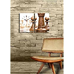 Canvas Real Running Clock - Playing Chess, Checkmate, Table Game - Wooden Thick Frame Painting, Total Size (25 x 16) - Set of 2 - Wall Art Hanging for Living Room, Bedroom, Dorm, Children's Room