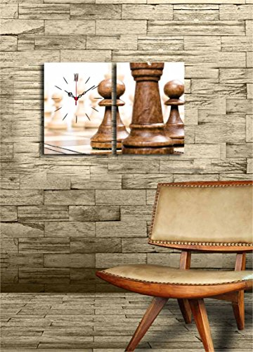 Canvas Real Running Clock - Playing Chess, Checkmate, Table Game - Wooden Thick Frame Painting, Total Size (25