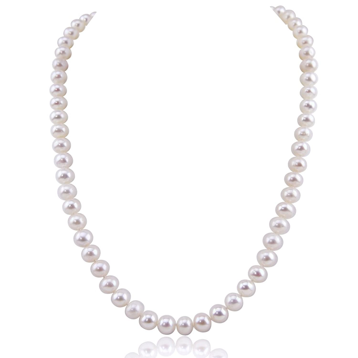 White Freshwater Cultured Pearl Necklace A Quality (7580mm), With Rhodium
