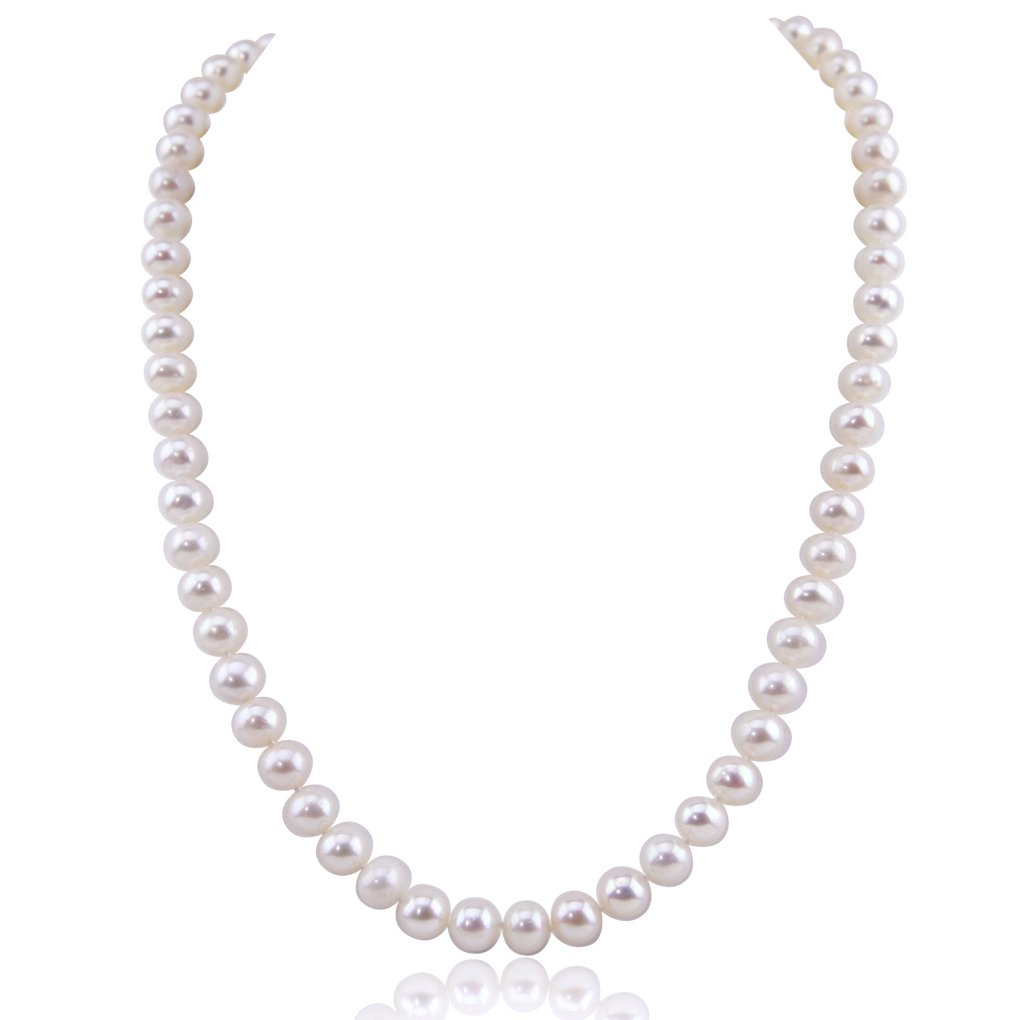 White Freshwater Cultured Pearl Necklace A Quality (6.5-7.0mm), 20'' with base metal Clasp