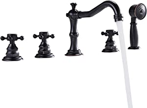 Lovedima Classic Antique Black 5-Hole Roman Tub Faucet with Hand Shower, Triple Cross Handles