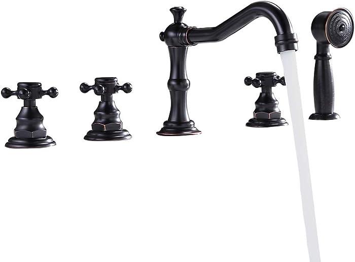 Lovedima Classic Antique Black 5-Hole Roman Tub Faucet with Hand Shower, Triple Cross Handles