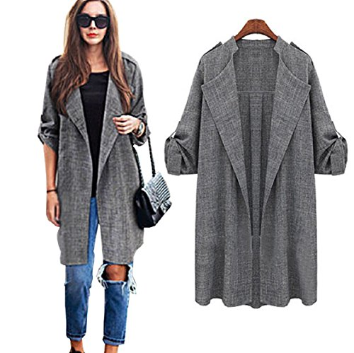 Trench Vestes Womens Ouvert Gris Long Cardigan Pardessus Vovotrade Waterfall Cape Manteau Fashion Front 88qCY
