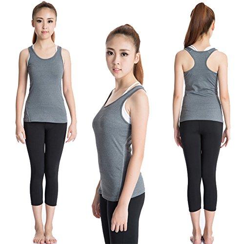 BOBORA Alta Elasticidad Confort Ropa Deportiva Mujer Profession Para Trotar Fitness Sin Mangas Yoga Race Gris