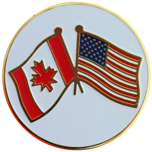 Canadian and American Flags Golf Ball Marker with Matching Hat Clip