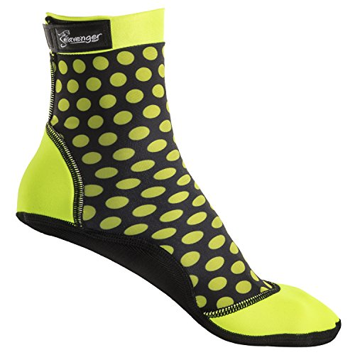 Seavenger High Cut Beach Socks with Grip Sole for Sand, Volleyball, Snorkeling, Diving, Wading (Dots, - Cut High Wetsuit