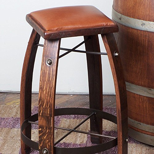 2 Day Designs Reclaimed 24 in. Stave Counter Stool with Leather Seat (Wine Barrel Counter Stool)