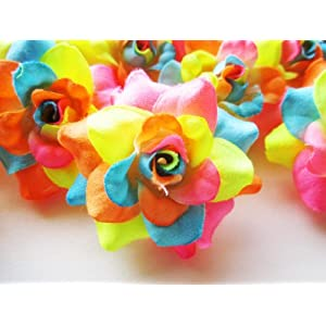 """(100) Silk Neon Roses Flower Head - 1.75"""" - Artificial Flowers Heads Fabric Floral Supplies Wholesale Lot for Wedding Flowers Accessories Make Bridal Hair Clips Headbands Dress 4"""