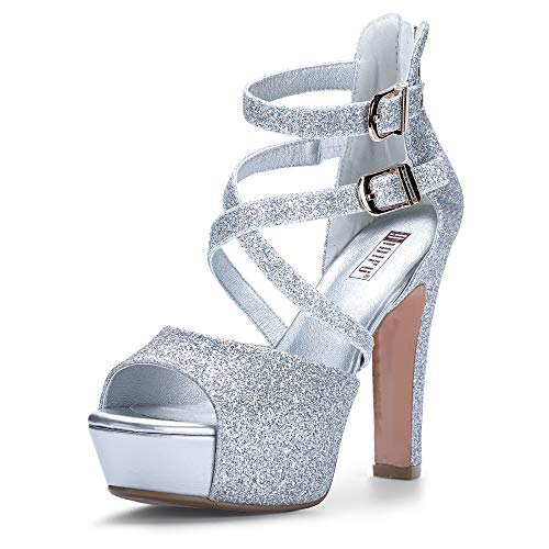 - IDIFU Women's IN5 Charcy Crisscross Strappy Platform High Chunky Heels Peep Toe Pump Party Heeled Sandals (7.5 M US, Silver Glitter)