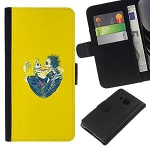 All Phone Most Case / Oferta Especial Cáscara Funda de cuero Monedero Cubierta de proteccion Caso / Wallet Case for HTC One M7 // Yellow Hearts Couple Skull Skeleton