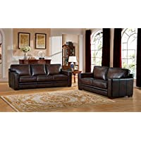 Amax Leather Chatsworth Genuine Leather Sofa and Loveseat, Brown
