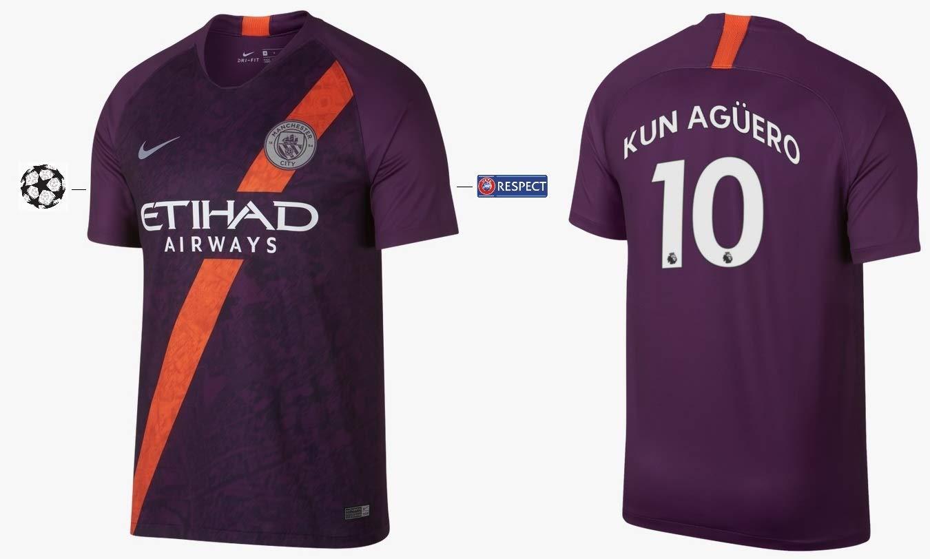 Manchester City F.C. Trikot Kinder 2018-2019 Third UCL - Kun Aguero 10