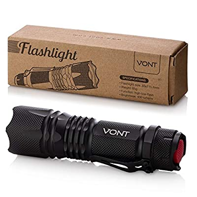 Vont LED Tactical Flashlight, Ultra Bright, Smart Compact Design, Anti-Slip Surface, 5 Modes, High in Lumens, Handheld Light, Suitable Camping, Hiking etc.