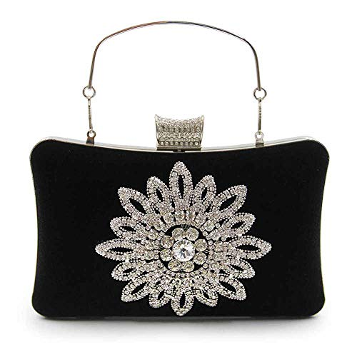 Nera End Flanella Bag Flower Donna Party Tracolla Borsa Da A Pochette Bag Evening High Diamond q6vwf1Tx1