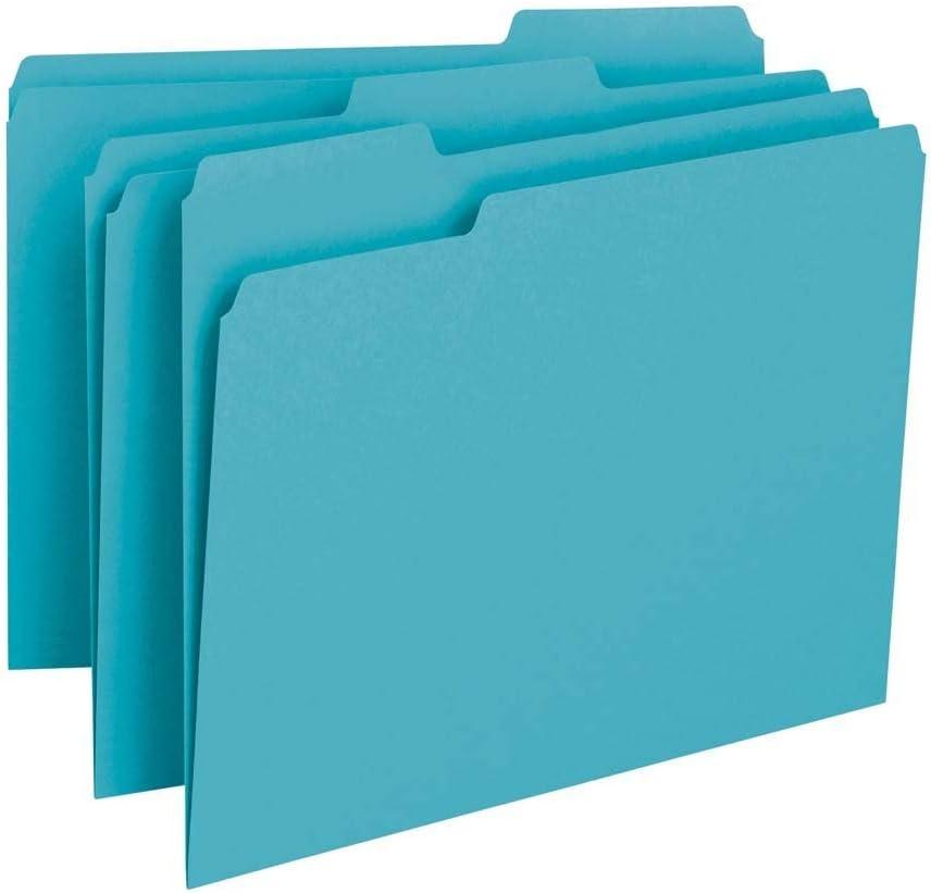 Smead File Folder, 1/3-Cut Tab, Letter Size, Teal, 100 per Box (13143)