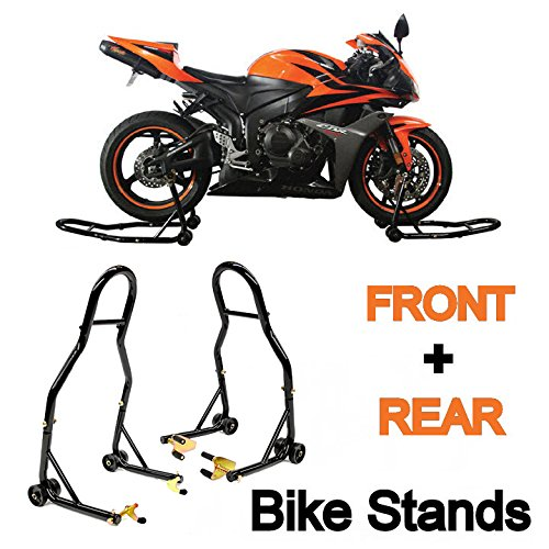ke Motorcycle Front & Rear Combo Wheel Lift Stands Fork & Swingarm Stands Paddock Stands Fits Yamaha Honda Kawasaki Suzuki Ducati Bmw (Front & Rear Combo) (Motorcycle Paddock Stands)
