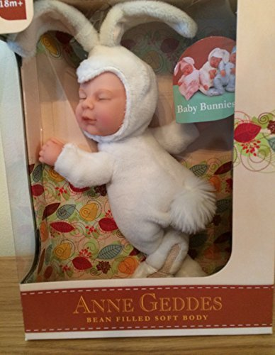 Anne Geddes Baby Snow White Sleeping Bunny Rabbit - Soft Bean Filled Collection 9 inch / 23 cm
